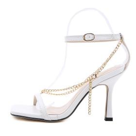 Strap, stiletto, metal, chain, sandals