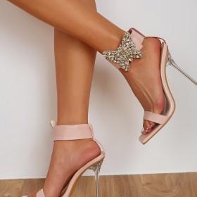 Bowknot, crystal, high heel, thin heel, one line belt, sandals
