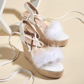 Open toe, straw, slope heel, high heel, water platform, bandage, sandals