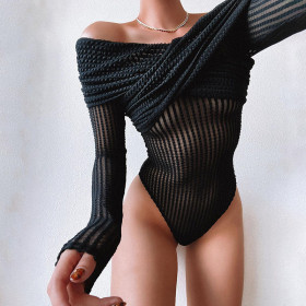 Sexy, perspective, mesh, shoulder, long sleeve, one-piece