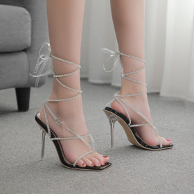 Diamond, cross, bandage, square head, clip toe, high heel, sandals