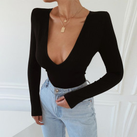 Fashion, sexy, V-neck, long sleeve, one-piece