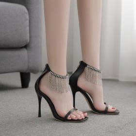 Tassel, Rhinestone, square head, stiletto, one line belt, sandals