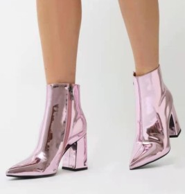 Patent leather, high heel, bright face, pointed head, short boots