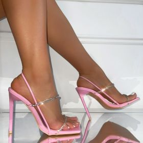 Thin belt, square head, water drill, thin heel, high, transparent, sandals