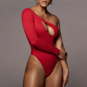 Sexy, hollow out, one shoulder, long sleeve, one piece
