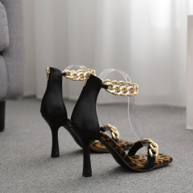 Metal, chain, one word, square head, high heels, sandals