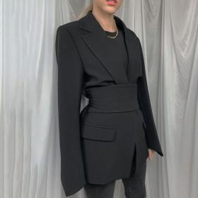 Cardigan, lace up, waist, lapel, slim fit, suit, coat