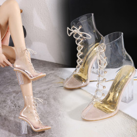 Crystal, transparent, high heel, bandage, pointed, cool boots