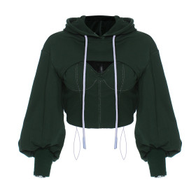 Solid color, sweater, hood, hollow out, two piece set