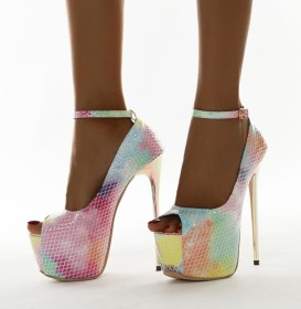 Color, snake pattern, fish mouth, button, high heel, single shoes
