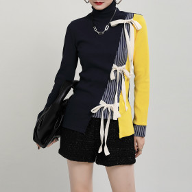 Color matching, irregular, stitching, lace up, hollow out, high collar, knitwear, sweater