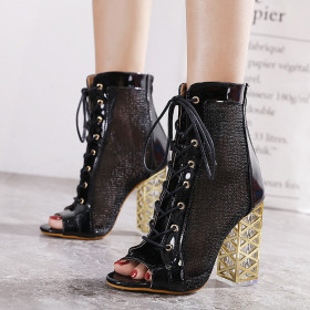 Thick heel, mesh, bandage, high heel, fish mouth, cool boots