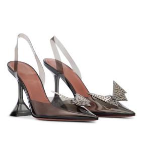 Pointed, transparent, sandals, Baotou, rhinestones, bows, high heels