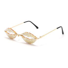 Personality, frameless, lips, diamond, sunglasses, sunglasses