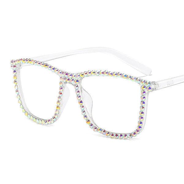 Candy color, sunglasses, simple, flat glasses, personality, full frame, diamond