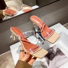Personality, special-shaped heel, strap, high heel, slippers