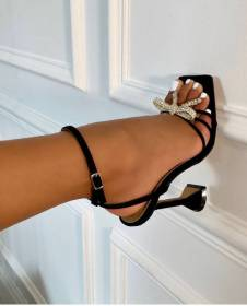 Sexy, bow, Rhinestone, buckle, ribbon, glass heel, sandals
