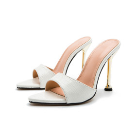 Super high heel, metal heel, pointed head, fish mouth, snake pattern, sandals