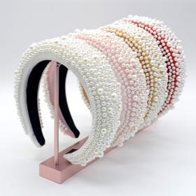 Handmade, wide brim, thickened, sponge, headband, Baroque, hair accessories, pearl, headband