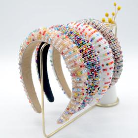 Wide edge, sponge, headband, Baroque, rice bead, knitting, handmade, crystal hairband