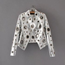 Rivet, ring, jacket, long sleeve, motorcycle suit, hollow out, women, leather coat, coat