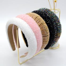 Fashion, temperament, solid color, Crystal Headband, sponge