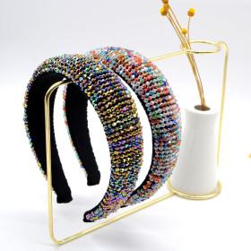 Baroque, crystal, hairband, sponge, wide edge, handmade headband