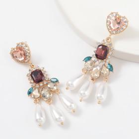 Alloy, diamond, pearl, earrings