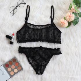 Sexy underwear, mesh, lace, transparent, dot, suit, two piece set