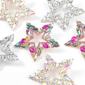 Rhinestones, diamond inlays, five pointed stars, earrings, earrings