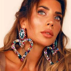 Heart shape, alloy, color diamond, retro, temperament, exaggeration, earrings