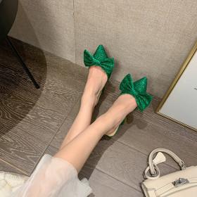 Tips, bows, rhinestones, glass heels, high heels, slippers