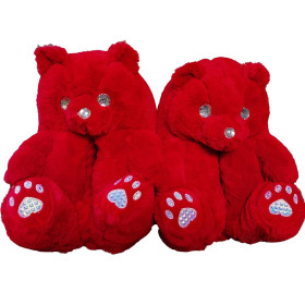 Bear, cotton padded shoes, teddy bear, warm, home, bedroom, plush shoes