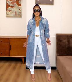 Fashion, holes, long sleeves, jeans, windbreaker, coat