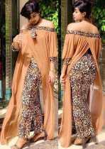 Loose, chiffon, stitching, fake two-piece set, floor length, long skirt, leopard print, dress