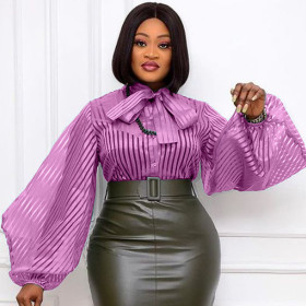 Sexy, perspective, stripe, lantern sleeve, bandage, bow, cardigan, large size, casual, versatile, shirt, top