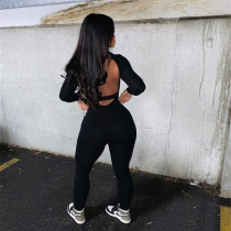 Hollow out, leggings, sexy, open back, long sleeve, tight, sports, jumpsuit
