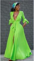 Fashion, split skirt, flared sleeve, V-neck, lace up skirt