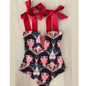 Bandage, bra, one-piece swimsuit, face, print