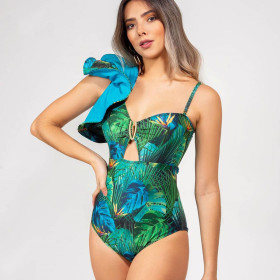 One shoulder, ruffle, one piece swimsuit, open back, sexy