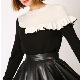 Stitching, contrast, ruffle, casual, high stretch, T-shirt, sweater