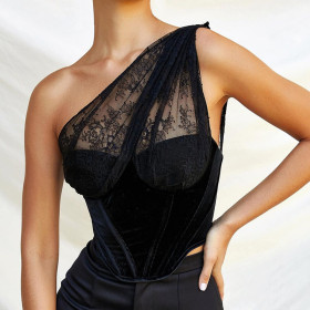 Lace, stitching, one shoulder, sling, top