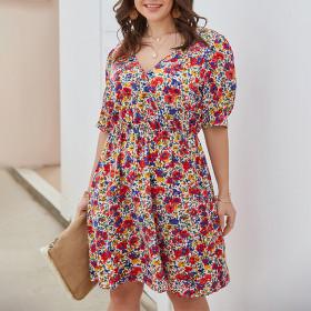 Print, close waist, A-line skirt