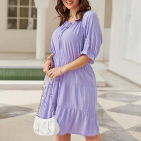 Solid color, medium length skirt, purple, dress