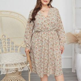 Close waist, chiffon large, swing, dress