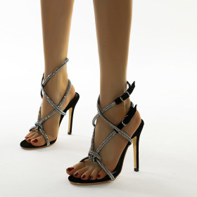 Rhinestones, high heels, stilettos, open toes, sandals