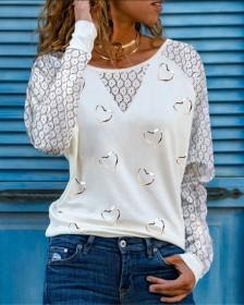 Long sleeve, love, print, T-shirt
