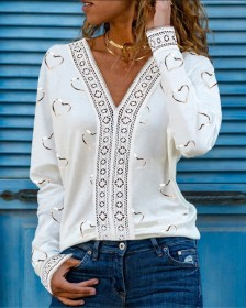 Long sleeves, love, lace, stitching, T-shirt