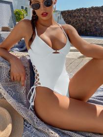 One piece swimsuit, bikini, solid color, swimsuit, one piece bikini
